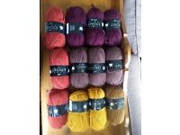 Selection of Coloured Acrylic Wool for Crocheting/Knitting/Crafting