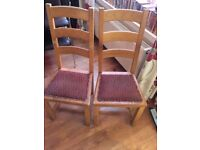 4 WOODEN HIGH BACK STUDDED EX PUB CHAIRS