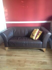 2 -Seater Contemporary Soft Leather Sofa Brown Beautiful Very Lightly Used