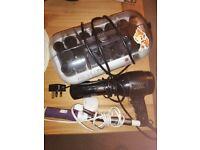Vidal Sassoon hair dryer, Revlon heated rollers and curling tongs.