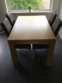 Next, Oak dining room table & 4 chairs with matching sideboard