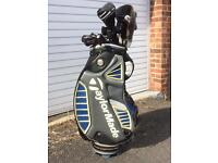 TAYLOR MADE GOLF SET BAG AND 3 WHEELED TROLLEY