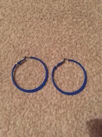 Blue hoop earrings