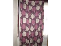 """1 PAIR OF CURTAINS - BURGUNDY WITH LARGE PINK & BEIGE FLOWER DESIGN 88""""DROP X 90"""