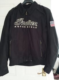Indian motorcycle jacket canvas, armour, removeable liner size large worn twice ventilation zips