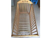 Mothercare Beech Playbead Baby Cot and Mattress Approx. D 66. H 102. L 127cm