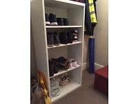 White shelving storage unit