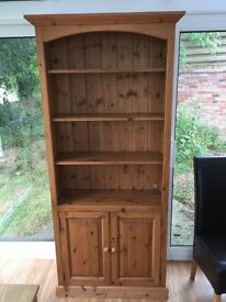 Waxed Solid Pine Bookcase With Cupboard