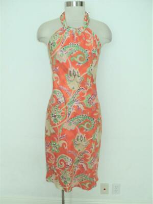 Ralph LAUREN Size 4 Silk Orange Floral Back Sash Tie Halter Dress 4