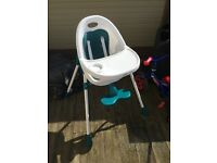 Mamas & Papas Teal Bop 2-in-1 Highchair. 1 year old, good condition