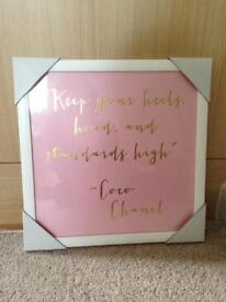 Brand New Coco Chanel Pink & Gold Picture Wall Art. Cost £19.99 - £8.00 only!