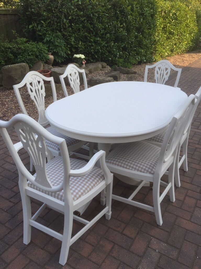 Shabby Chic Dining Table 6 Chairs Laura Ashley Gingham Taupe Off White