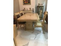 Vintage Dining Table + 8 Chairs