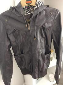 Brown leather look jacket size 10