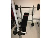 YORK FREE WEIGHT BENCH W/ PULLDOWN, BICEP CURL AND LEG EXTENSION, AND 100KG CAST IRON WEIGHTS