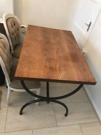 Solid oak Table, 4x french Antique chairs & matchinf coffee table