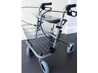 Folding wheeled mobility walker seat with tray and shopping basket