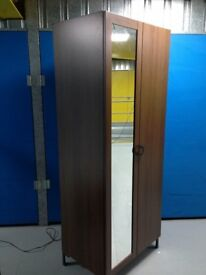 WOOD GRAINED DOUBLE WARDROBE TWO DOOR ONE WITH MIRROR