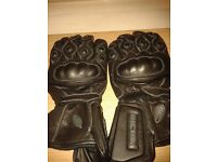 Leather Motorbike Gloves, Black size XL