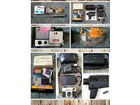 Vintage Cameras and Projector Job Lot / Bundle incl. Cinerex Dual 8 Video Camera, Screen etc.