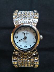 Absolutely gorgeous sterling silver diamante bangle watch by KeKe £8