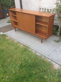Retro McIntosh Long Low Teak Glass Sliding Door Bookcase Cabinet With Cupboards