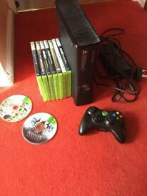Xbox 360 slimline all wires controller and games