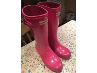 Hunter Big Kids Pink Glitter Wellies