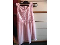 Girls pale pink dress age 7 to 8