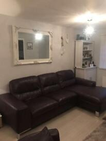 Dfs leather sofa with chair + footstool