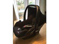 "Maxi-Cosi ""black raven"" Pebble (group 0) baby car seat. Very good condition."