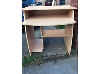 Free wooden computer desk with shelves