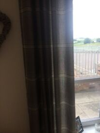 Grey check curtains. 66x90 drop and 4 matching cushions