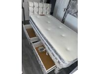 Silver storage single bed headboard and mattress included excellent condition
