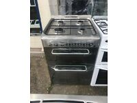 INDESIT 60CM DUAL FUEL COOKER IN SHINY SILIVER