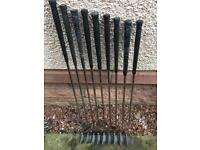 Set of Wilson Gear Effect golf clubs - 3 to 9 irons plus wedge and sand iron
