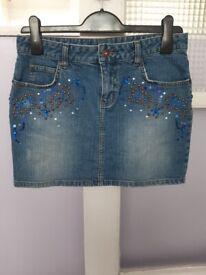 Brand New Julien Macdonald Beaded Denim Mini Skirt