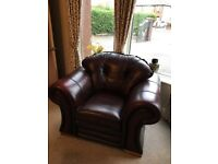 Three Piece Real Leather Suite and Matching Electic Reclining Chair For Sale