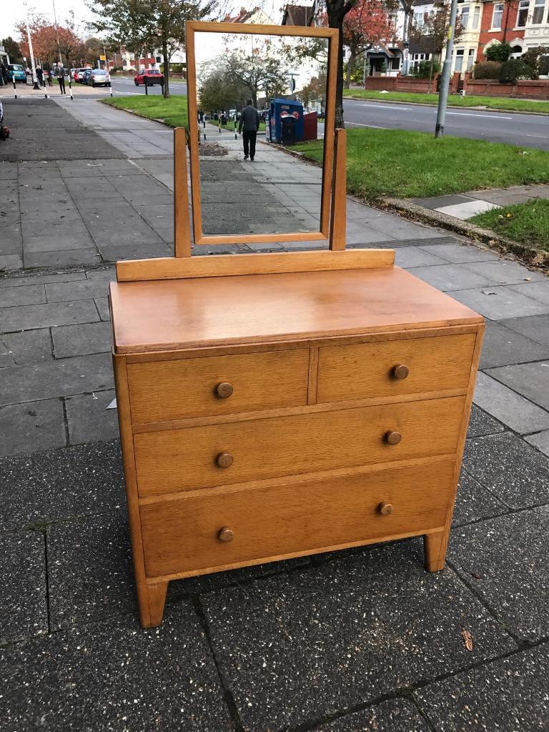Vintage light oak dressing chest of drawers