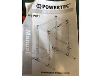 Powertec Power Rack and Powertec Utility Bench with 125 kg Weights, Bars and Heavy Duty Mats