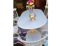"""*** SHABBY CHIC/RUSTIC SOLID PINE OVAL PEDESTAL TABLE + 6 CHAIRS RESTORED IN """"MOONSTONE GREY """" WOW"""