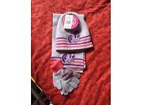 My Little Pony hat scarf gloves set 9-10yrs NEW