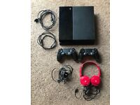 SONY PLAYSTATION 4 BLACK MODEL CUH-1003A 500GB PS4 CONSOLE X2 CONTROLLERS GAMING HEADSET