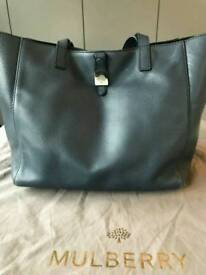 AUTHENTIC MULBERRY TESSIE TOTE IN REGAL BLUE LEATHER + RECEIPT