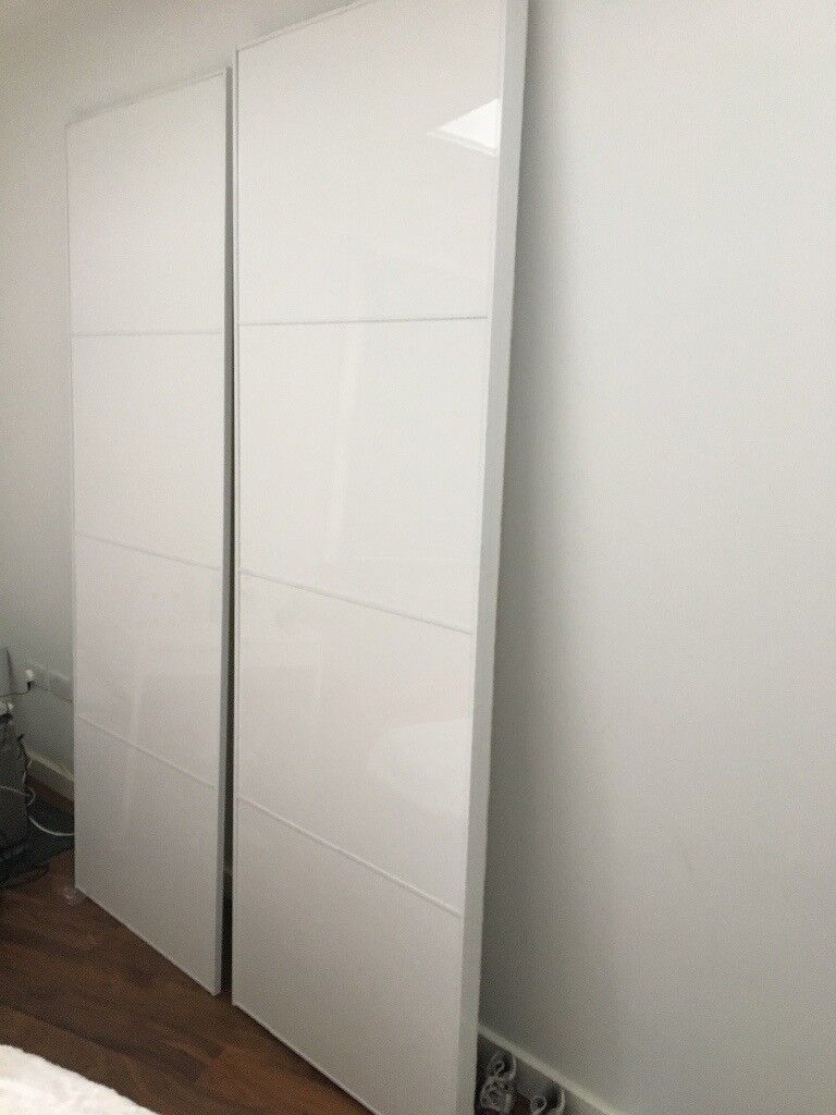 ikea sliding wardrobe doors pair white gloss fits. Black Bedroom Furniture Sets. Home Design Ideas