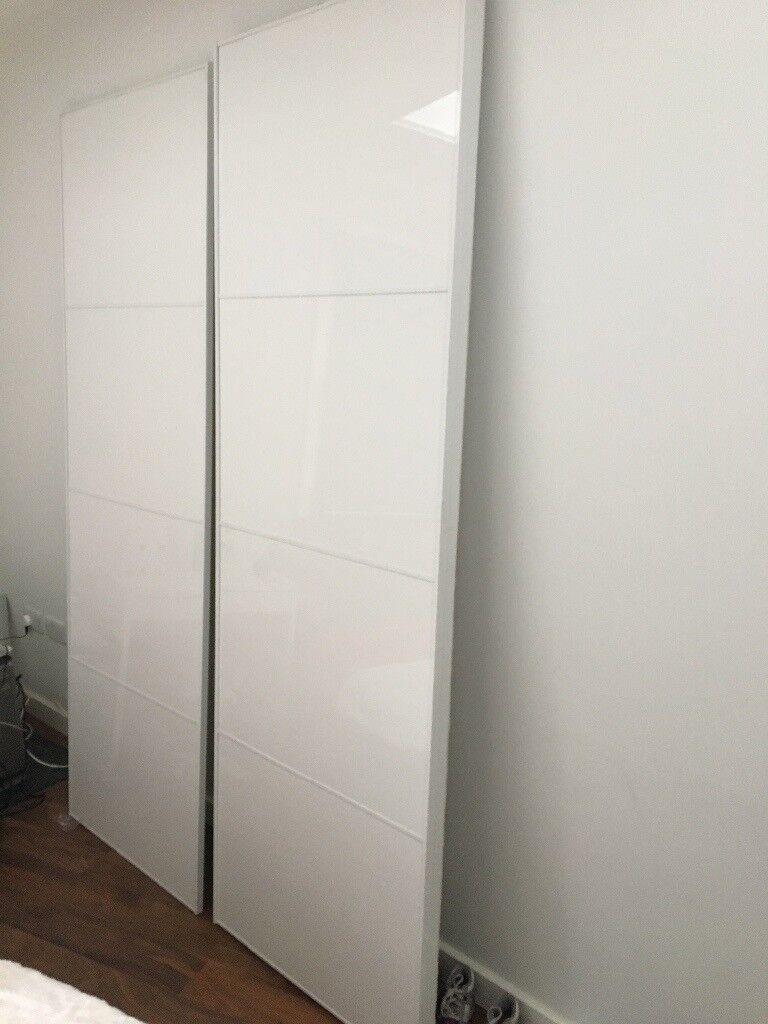 Ikea Sliding Wardrobe Doors Pair White Gloss Fits