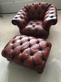 Vintage Leather Armchair and Footstool