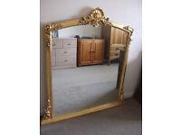 Mirror - Large Gilt Rococco Over Mantle Mirror