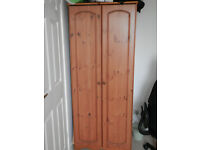 Pine wardrobe and matching bedside unit