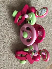 Pink elc buggy driver steering wheel